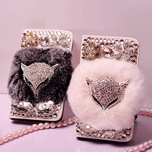 Image 1 - Luxurious Jewel Real Rabbit Fur Bling Leather Wallet Cases capa for iphone X XS MAX XR 5S 6 6 Plus 7 8 Plus bling Phone case