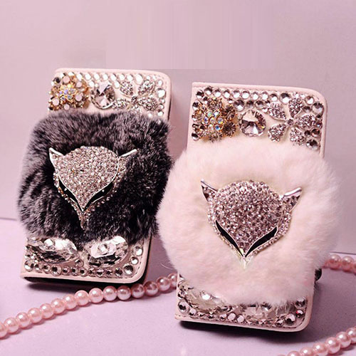 Luxurious Jewel Real Rabbit Fur Bling Leather Wallet Cases capa for iphone X XS MAX XR 5S 6 6 Plus 7 8 Plus bling Phone case