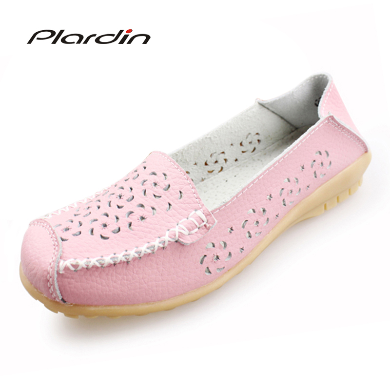 Plardin 2018 Round Toe Genuine Leather Shoes Flat Cut Outs Women Shoes Summer Concise Casual Ballet Flats Women Nurse Loafers plardin new summer women genuine leather shoes comfortable buckle flats nurse casual handmade ballet flats women shoes