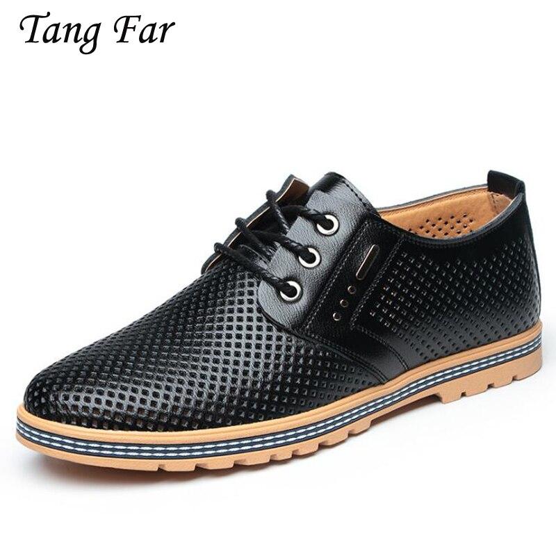 Summer Mens Shoes Sandals 2018 New Men Business Dress Shoes Casual Flats Mens Hole Shoes Black Brown