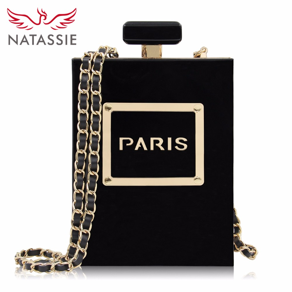 NATASSIE Women Clutch Bags Acrylic Clutches Fashion Party Bags Ladies Designer Perfume Bottle Shape Purses