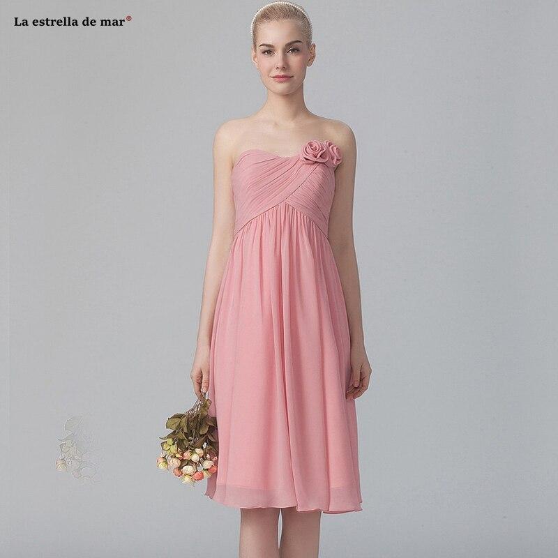 Robe Demoiselle D'honneur2019 New Chiffon Off Shoulder Flower Halter A Line Pink Bridesmaid Dress Tea Length Wedding Party Dress