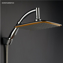 DONYUMMYJO 9 Inch ABS Bathroom Railfall Shower Head ,Water Saving ,Extension Shower Arm,Hose And Holder Shower Set