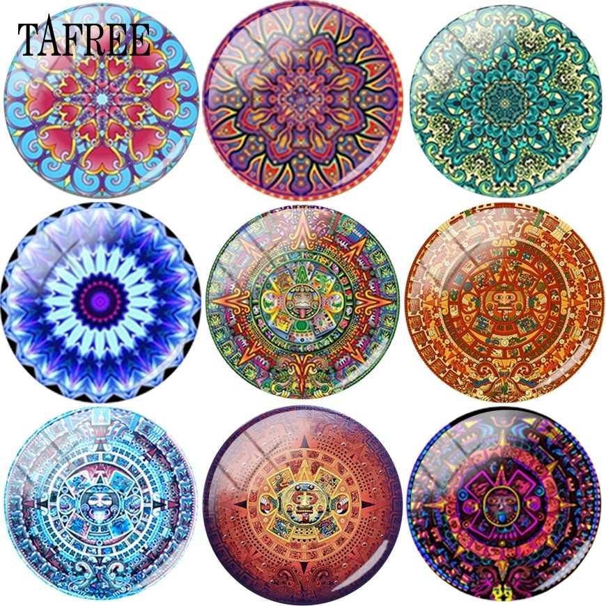 TAFREE rocznika piękny wzór Mandala DIY koraliki do biżuterii 25 mm szkło Cabochon Cameo ustawienia wisiorek dla naszyjnik