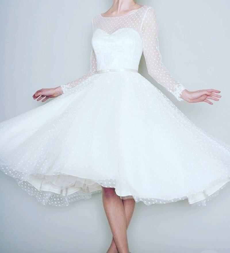 1905's Vintage White Long Sleeve Short Wedding Dress Women Bridal Dresses Tea Length Retro Dotted Wedding Gown 2018 Spring New