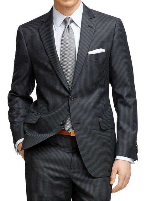 Mens Pinstripe Suit Custom Made Charcoal Grey Mens Striped Suit,Tailored Single Breasted Pin Stripe Men Suit