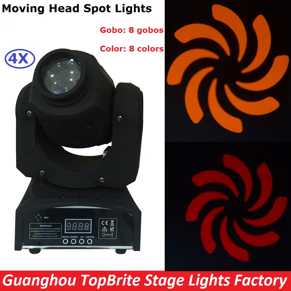 4Pcs/Lot High Quality 30W LED Spot Moving Head Light/USA Luminums 30W LED DJ Spot Lights Super Bright With 8 Gobos And 8 Colors niugul dmx stage light mini 10w led spot moving head light led patterns lamp dj disco lighting 10w led gobo lights chandelier
