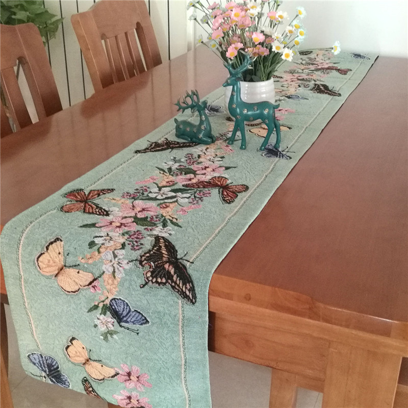 Flat Angle Butterfly Flowers Table Runner Placemat Yarn Dyed Table Cloth Plate Mats Home Decor  free shipping title=