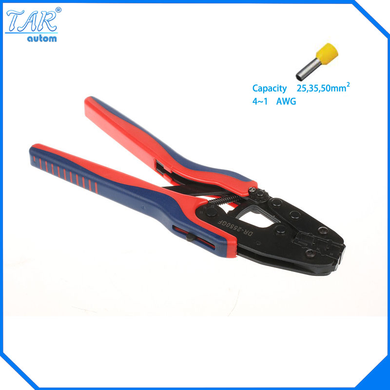 цены  25,35,50mm Super Strength-Saving Crimping Pliers Ratchet Crimping Tool Insulated and Non-insulated cable end-sleeves DR-2550GF