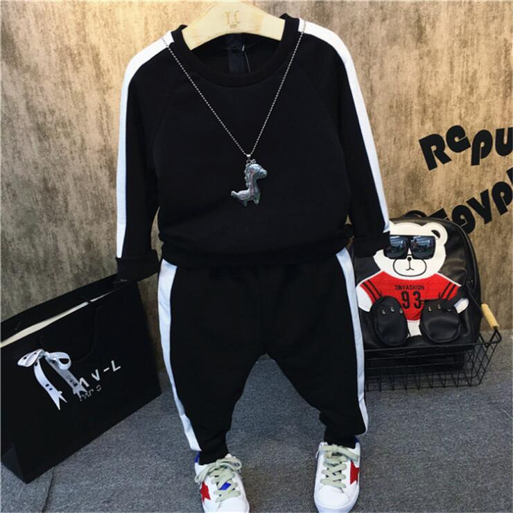2PCS baby boys spring autumn clothing set kids casual striped black hoodies and pant set fashion children clothes 2-7 years old
