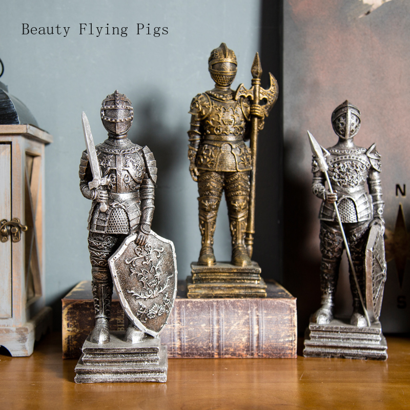 American retro Roman soldier model decoration coffee room study bookcase bar partition decoration decoration window display(China)