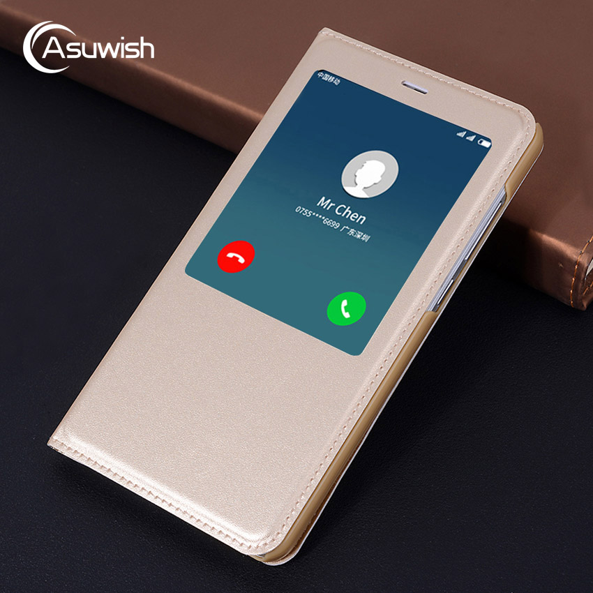 Asuwish Flip Cover Smart Leather Case For Xiaomi Redmi Note 4x 4 Pro X Prime Global Version Xiomi Xaomi Note4 Note4x Phone Case