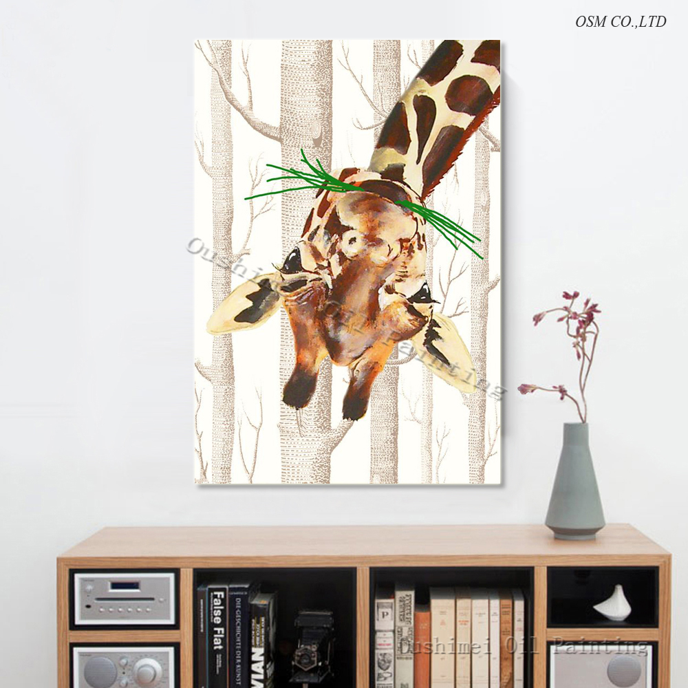 Funny Design Skills Artist Hand-painted High Quality Modern Animal Giraffe Oil Painting on Canvas for Living Room Decoration