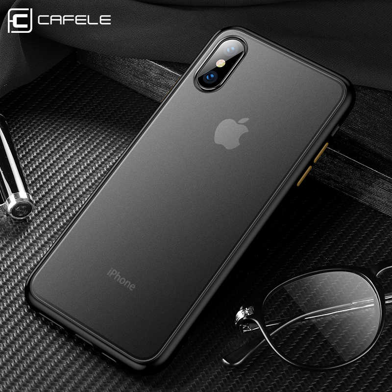 CAFELE 2019 mais novo cor em choque case para iphone 7 8 plus X Xr Xs Max silicon + PC caso translúcida para iphone 7 8 plus X Xr Xs