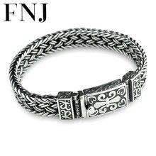 FNJ 925 Silver Weave Bracelet 11mm width New Fashion Wire cable Chain Original S925 Thai Silver Bracelets for Women Men Jewelry