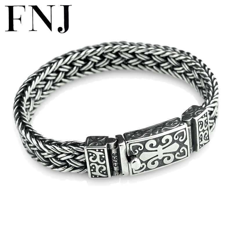 FNJ 925 Silver Weave Bracelet 11mm width New Fashion Wire cable Chain Original S925 Thai Silver Bracelets for Women Men Jewelry