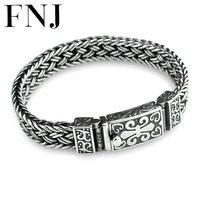 FNJ 925 Серебряное Плетение Браслета 11 мм ширина новая мода провод кабель цепи оригинальный S925 тайский серебряный Браслеты для для женщин Для