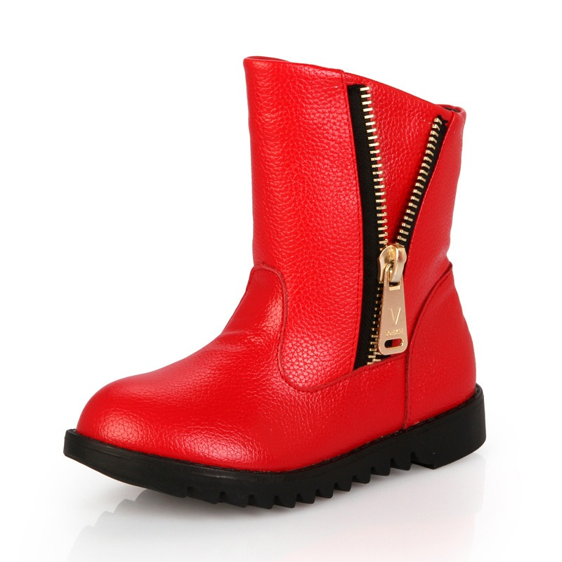 Kids Fashion Mid Calf Boots Girls Classic Zipper Flat Comfortable Shoes Children Winter Round Toe Non-Slip Boots AA60221 casual female 2016 new winter brown flat heel boots non slip waterproof round toe knight shoes mid calf wear resistance boots