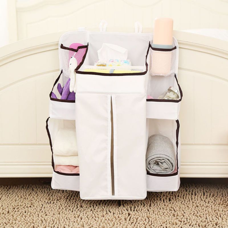 Nylon Organizer Bag for Baby Bedside Baby Diaper Feeding Bottle Hanging Storage Bag Home Storage Products