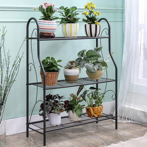 Image 4 - 3 layers Iron Outdoor Garden Plant Shelves Storage Shelf Simple Assembly Removable Bedroom Flower Pot Iron Rack for Balcony