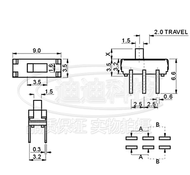20Pcs MSS22D18 MINI DIP Slide Switch 2P2T 6Pin Handle high 2mm