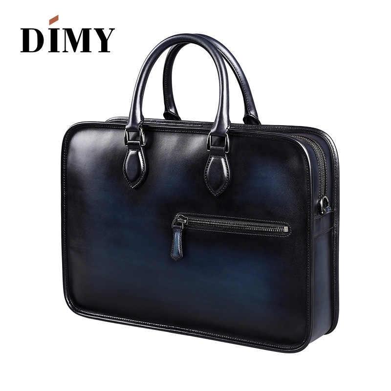26b349f94 ... DIMY Vintage Handmade Italian Genuine Leather Briefcase Men Hand Patina  Messenger Shoulder Bags Laptop Business Case