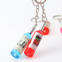 1PC Couple Keychain Car Key Ring Keychain Phone Ornaments Beer Bottle Pendant Keychains Multiple Colors Random(China)