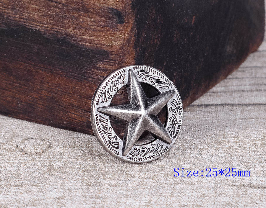 LOT 10PCS 25*25MM WESTERN AMERICA TEXAS RAISED STAR ANTIQUE SILVER LEATHERCRAFT CONCHOS FOR LEATHER TACK RIVETBACK(China)