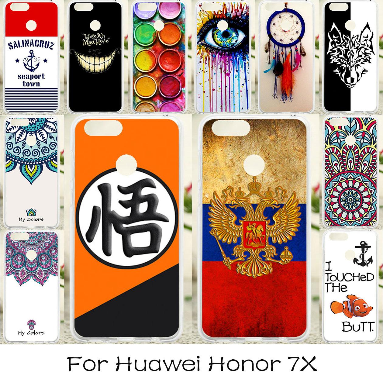 Galleria fotografica TAOYUNXI DIY Soft TPU Case For Huawei <font><b>Honor</b></font> <font><b>7X</b></font> Case Silicone Anti-knock Cover For Huawei Mate SE Covers Skin Russia Flag Fundas