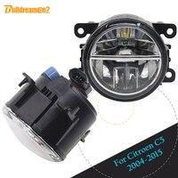 Buildreamen2 2 Pieces Car Accessories LED Lamp Fog Light Daytime Running Light DRL White 12V For 2004 2015 Citroen C5