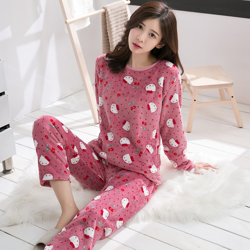 160f7f26ad Girls Cute Cartoon Print Thick Warm Flannel Pajama Sets for Women 2018 Winter  Long Sleeve Coral Velvet Pyjama Sleepwear Homewear