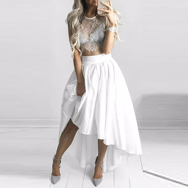 b923c3551f 2017 Chic White High Low Women Skirt Street Style Fashion Pleated Satin  Long Maxi Skirt Custom Made Women Clothing Ball Gowns