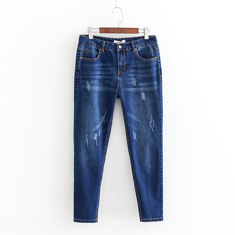 Scratched Jeans Classic Women Slim Skinny Pencil Pants Denim Casual Jeans Plus Size XXXL 5XL Blue Black KKFY2745