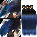 PeruvianStraight Волос Ombre синий человеческих волос 3 шт. реми человеческих волос синий ombre weave 2 тон ombre weave связки HANNE Красочные волос
