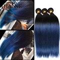 PeruvianStraight Hair Ombre blue human hair 3pcs remy human hair blue ombre weave 2 tone ombre weave bundles HANNE Colorful Hair