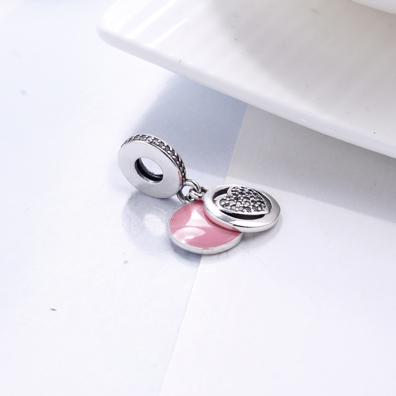 Real 100% 925 Sterling Silver Fit Original Pandora Bracelet Devoted Heart Pendant Charm DIY Charms Beads for Jewelry Making