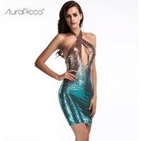 מראה חדש גליטר נצנצים צבע שיפוע שמלת מיני חזה פתוח ללא משענת הלטר Bodycon בנות נשים סקסיות Clubwear 2017 AuraPicco