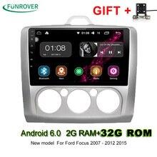 Neue Funrover 2din 9 Zoll Android 6.0 2g + 32g Auto Dvd Gps Für Ford Focus 2 Mit Wifi/gps Navi/fm/am Radio/bluetooth/multimedia