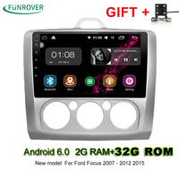 New Funrover 2din 9 Inch Android 6 0 2g 32g Car Dvd Gps For Ford Focus