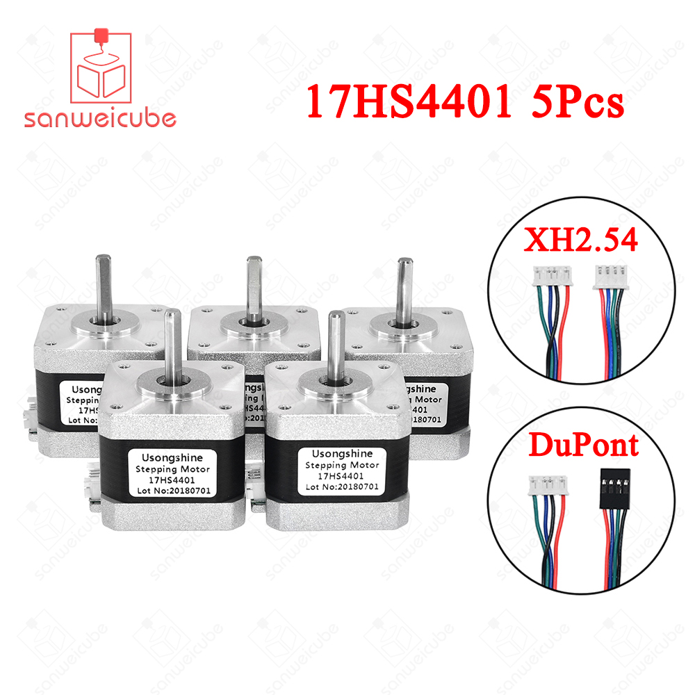 5 unids/lote 17HS4401 4-plomo Nema17 Motor paso a paso 42 motor Nema 17 42 BYGH 1.5A (17HS4401) motor para 3d impresora y CNC XYZ