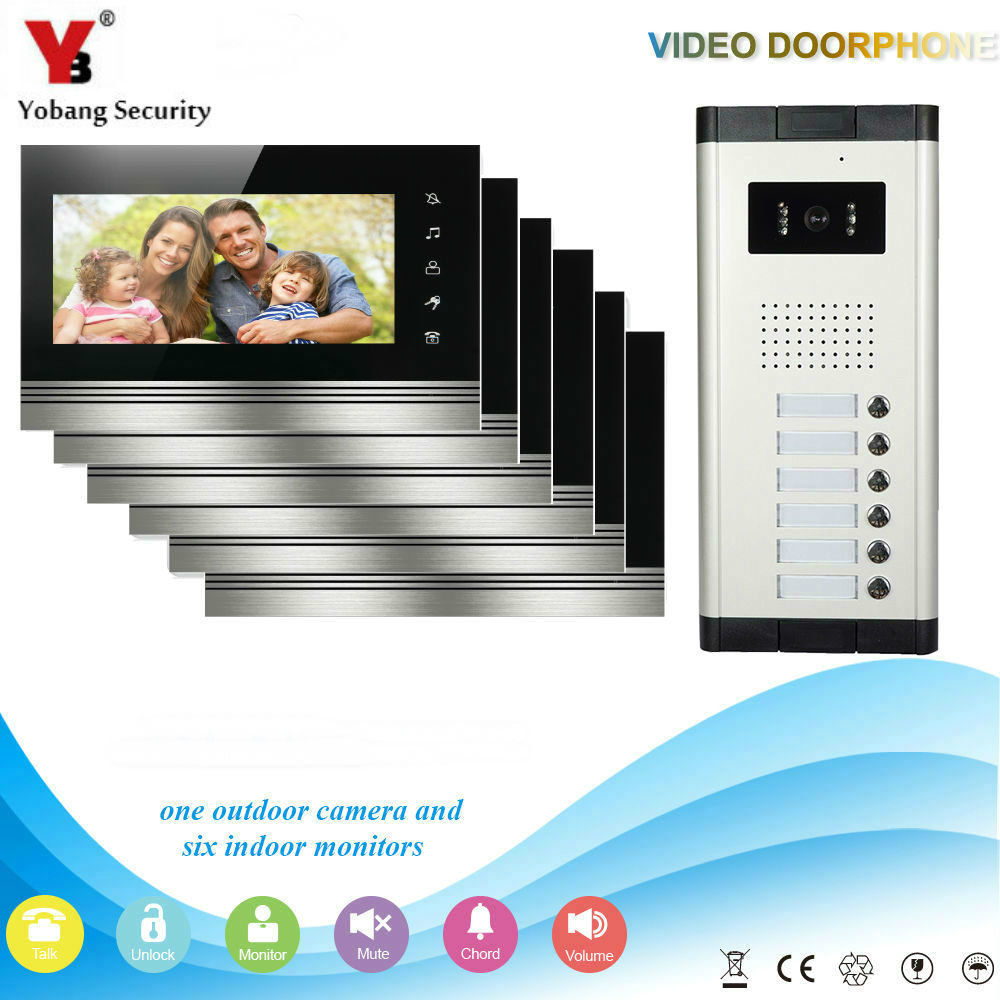 Yobang Security 6 Units Apartment Intercom Entry System Wired 7'' Monitor Audio Video Door Phone Bell