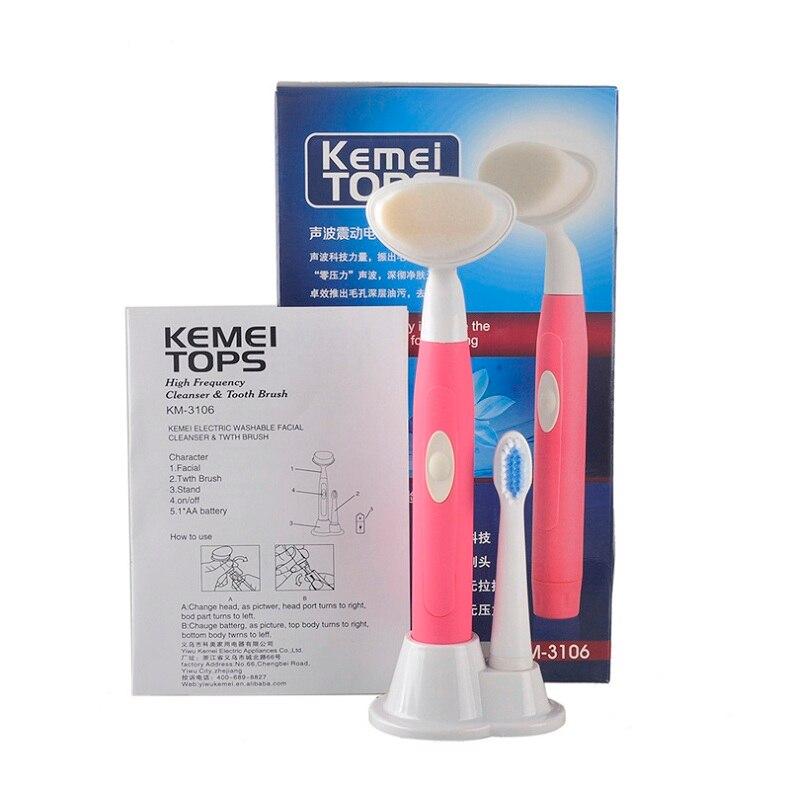 Kemei Батарея работает электрический умывания 2 в 1 акустические волны Электрические зубные щётки KM-3106 с Уход за кожей лица кожи Кисточки