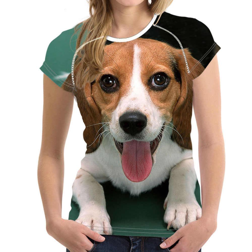 Noisydesigns mignon Beagle chien imprimé femme T-shirts Harrier chiens femmes T Shirt 2018 été hauts T-shirts féminin t-shirt femme fille