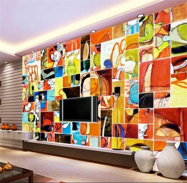 Room Wallpaper Custom Murals Non Woven Wall Sticker Bright Colors Cartoon Painting Photo