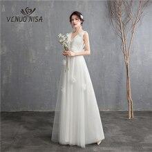 חדש הגעה אשליה קוריאני סגנון טול אונליין חתונה שמלת 2020 כפול כתף V צוואר תחרה כלה שמלת נישואי רצפת אורך