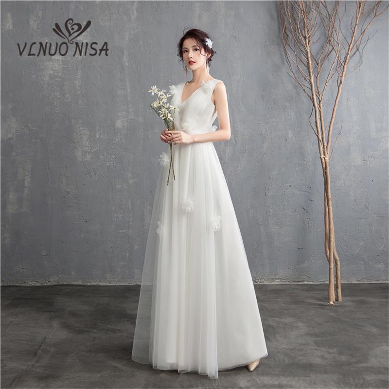 New Arrival Illusion korean style Tulle A Line Wedding Dress 2020  Double shoulder V neck Lace Bridal Dress Marriage Floor LengthWedding  Dresses