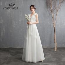 Vestido de novia de estilo coreano ilusión, novedad, 2020, corte en A, doble hombro, cuello en V, encaje, largo hasta el suelo
