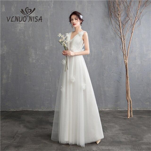 Yeni varış Illusion kore tarzı tül A Line düğün elbisesi 2020 çift omuz v yaka dantel gelin elbise evlilik kat uzunluk