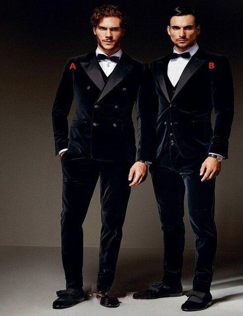 Erkek Kıyafeti'ten T. Elbise'de Kadife Groomsmen Tepe Saten Yaka Damat Smokin Siyah Erkek Takım Elbise Düğün En Iyi Adam Blazer (Ceket + Pantolon + Yelek + papyon)'da  Grup 1