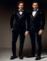 Velvet Groomsmen Peak Satin Lapel Groom Tuxedos Black Men Suits Wedding Best Man Blazer (Jacket+Pants+Vest+Bow Tie)